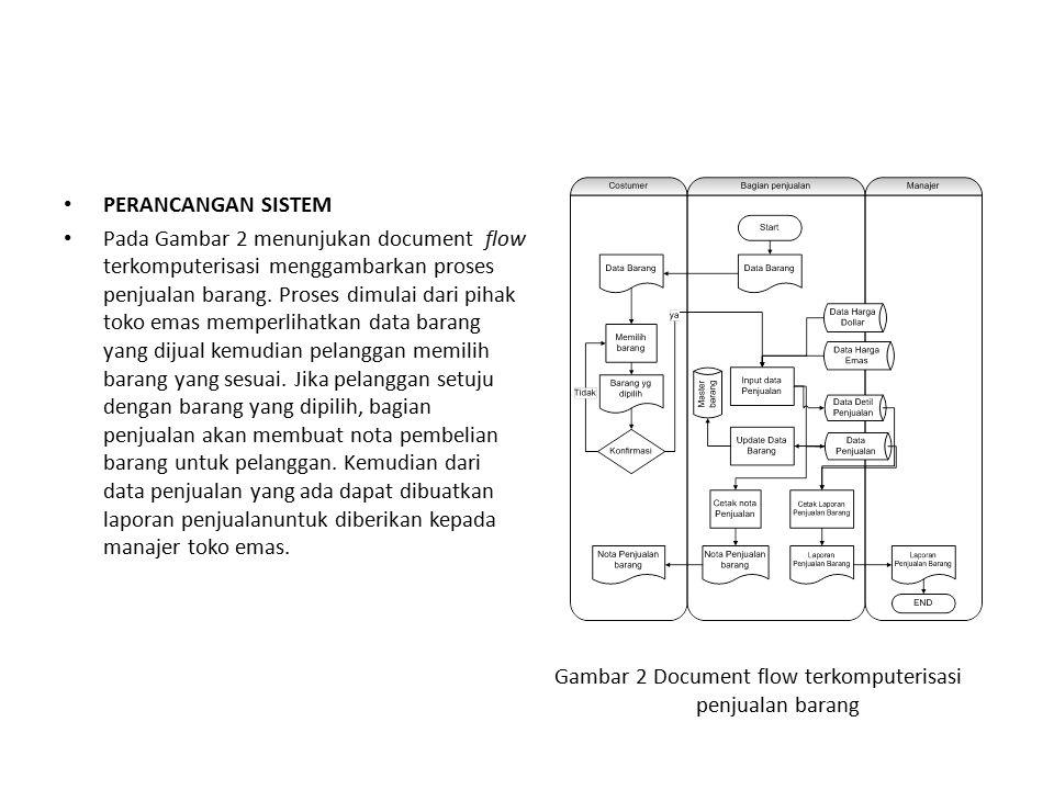 PERANCANGAN SISTEM Pada Gambar 2 menunjukan document flow terkomputerisasi menggambarkan proses penjualan barang. Proses dimulai dari pihak toko emas