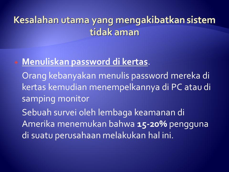  Menuliskan password di kertas.