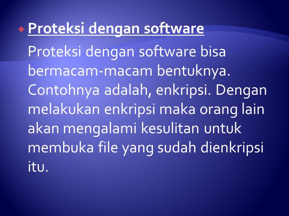  Proteksi dengan software Proteksi dengan software bisa bermacam-macam bentuknya.