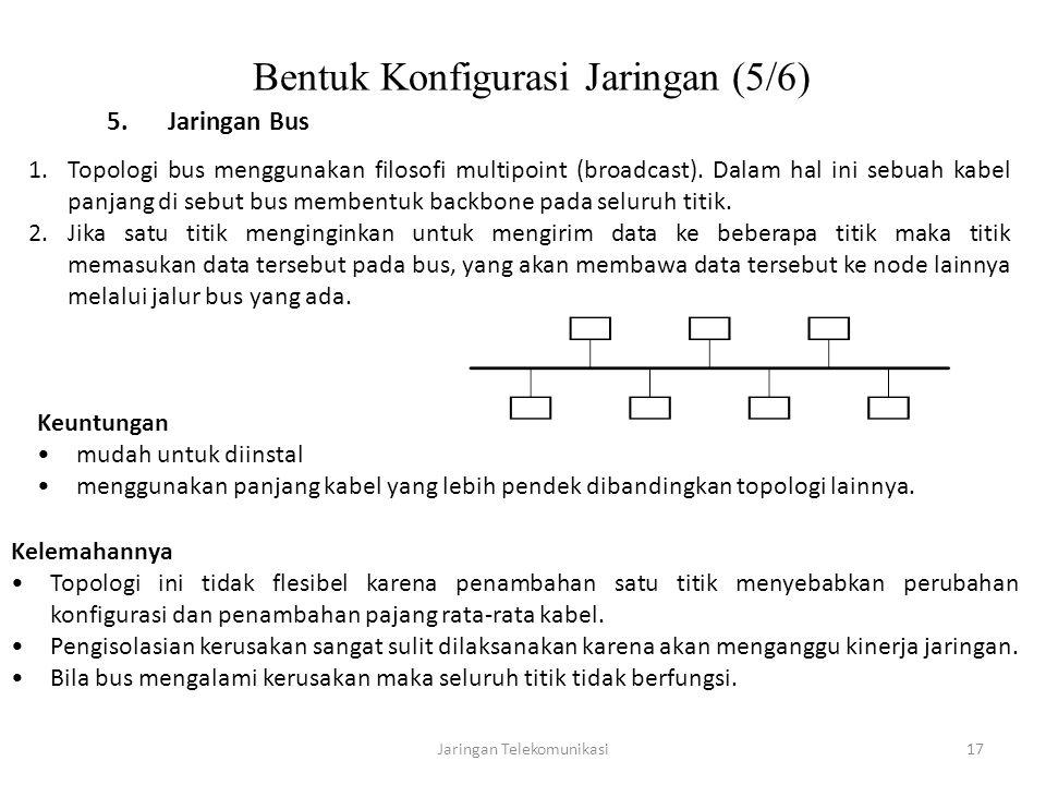 Jaringan Telekomunikasi17 Bentuk Konfigurasi Jaringan (5/6) 5.Jaringan Bus 1.Topologi bus menggunakan filosofi multipoint (broadcast). Dalam hal ini s