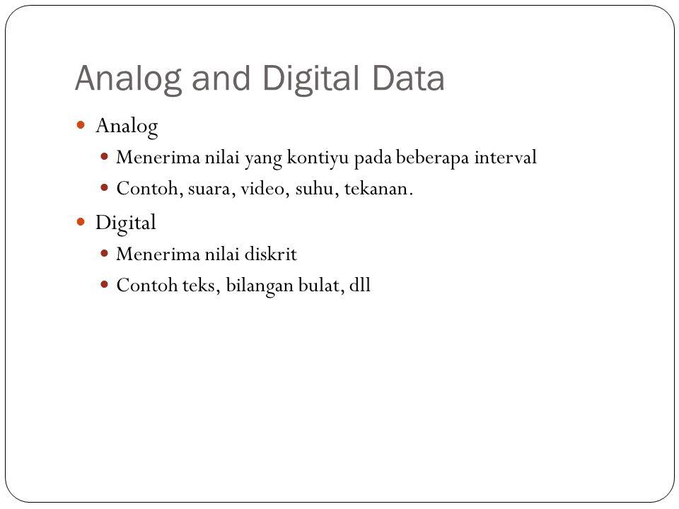 Analog and Digital Data Analog Menerima nilai yang kontiyu pada beberapa interval Contoh, suara, video, suhu, tekanan. Digital Menerima nilai diskrit
