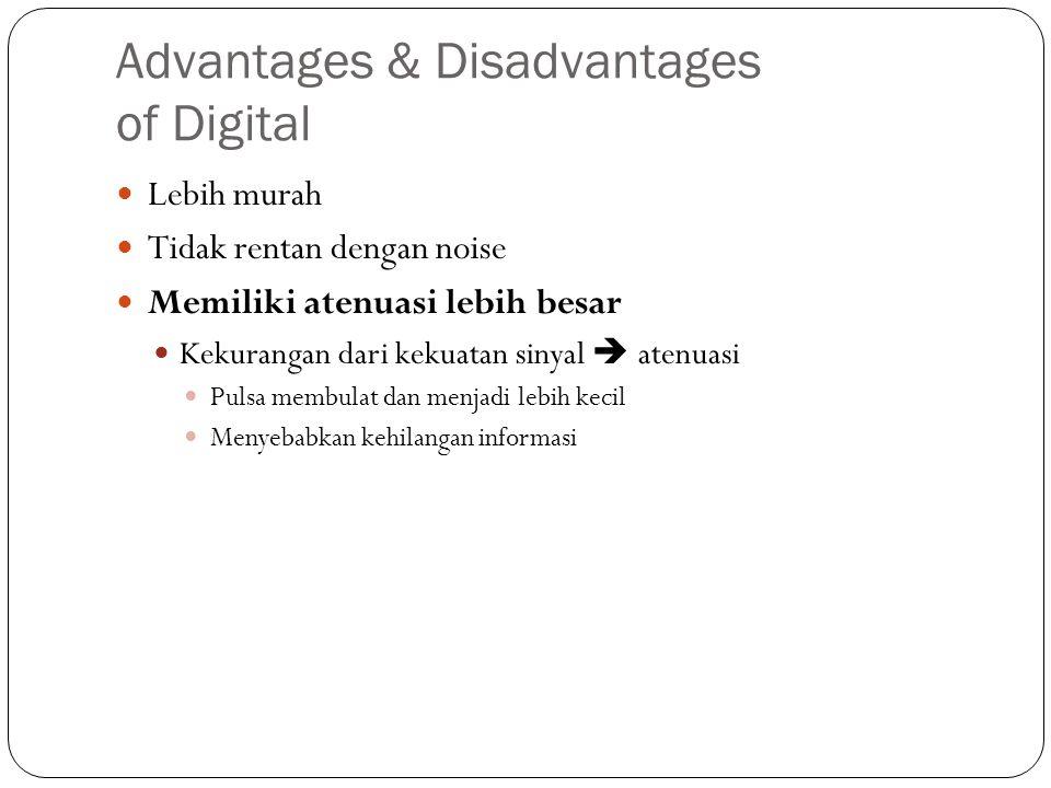 Advantages & Disadvantages of Digital Lebih murah Tidak rentan dengan noise Memiliki atenuasi lebih besar Kekurangan dari kekuatan sinyal  atenuasi P