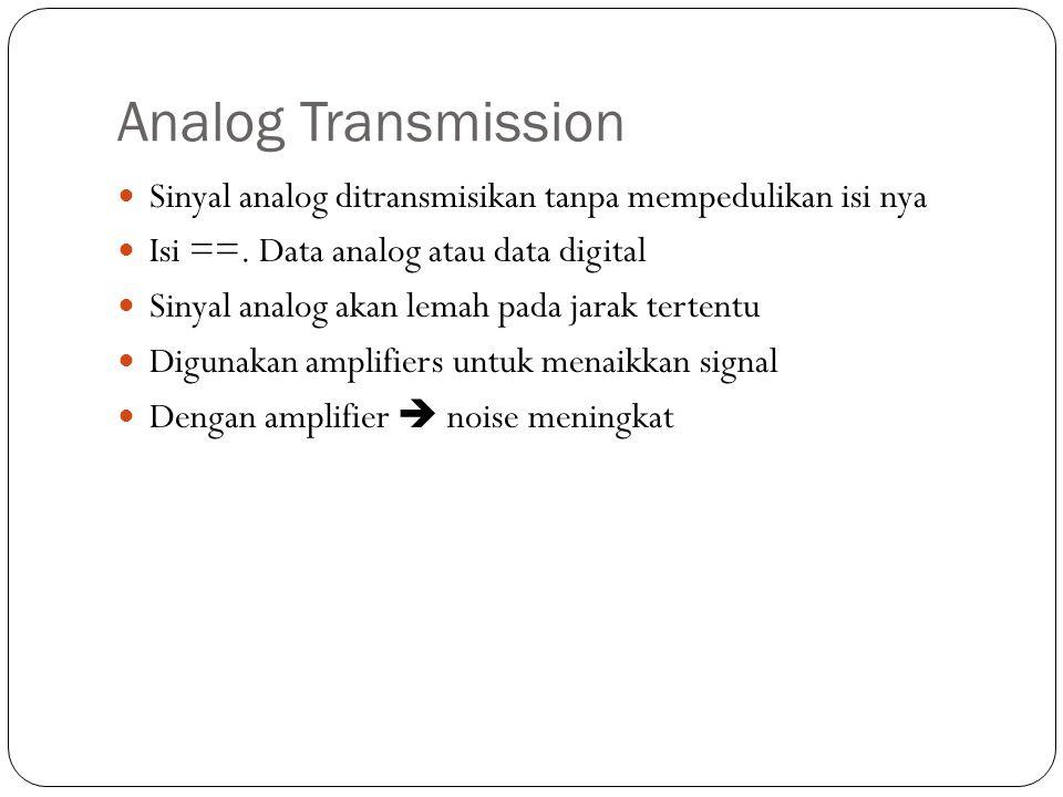 Analog Transmission Sinyal analog ditransmisikan tanpa mempedulikan isi nya Isi ==. Data analog atau data digital Sinyal analog akan lemah pada jarak