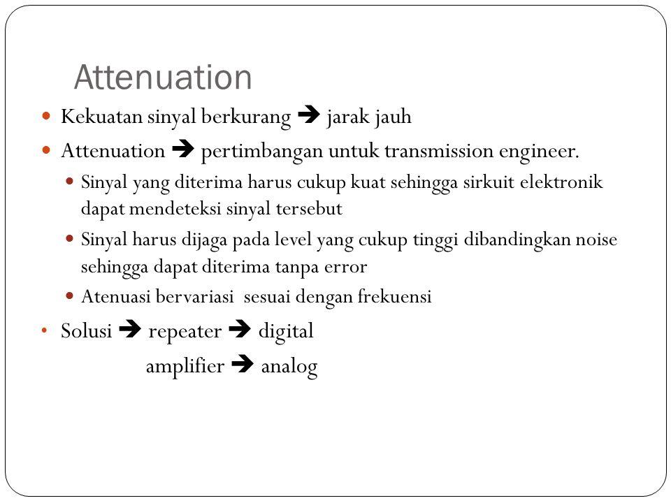 Attenuation Kekuatan sinyal berkurang  jarak jauh Attenuation  pertimbangan untuk transmission engineer. Sinyal yang diterima harus cukup kuat sehin