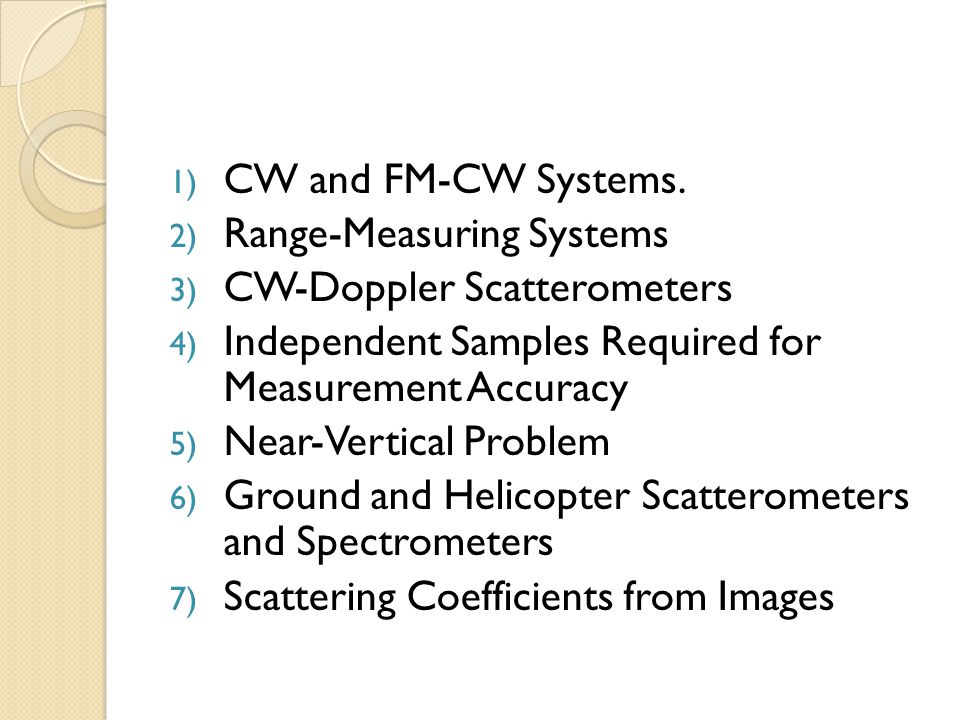 1) CW and FM-CW Systems.