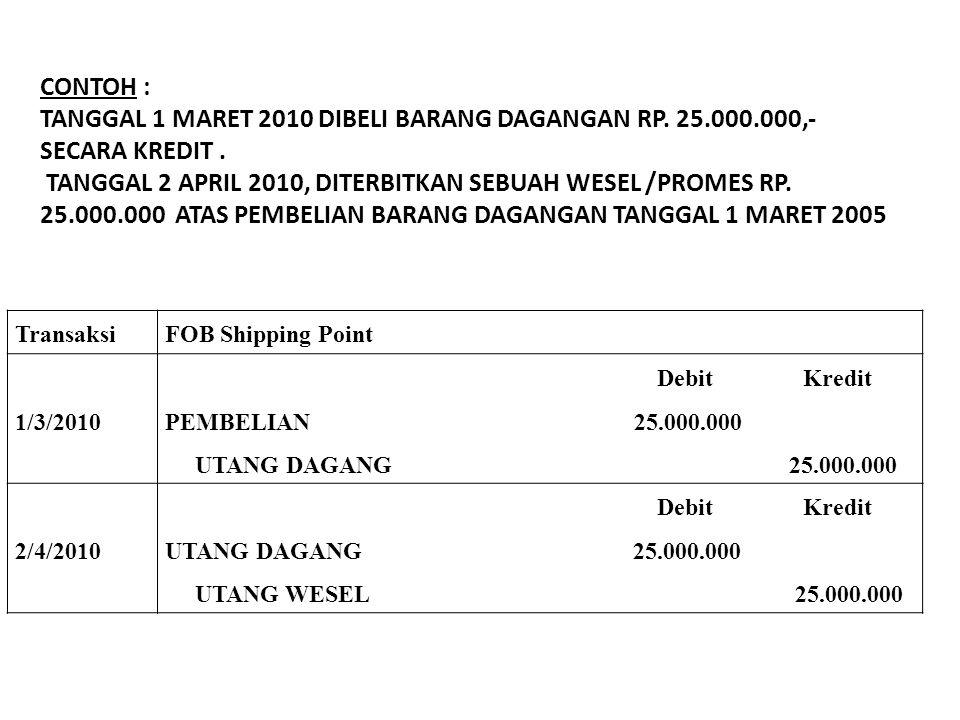 TransaksiFOB Shipping Point 1/3/2010 Debit Kredit PEMBELIAN 25.000.000 UTANG DAGANG 25.000.000 2/4/2010 Debit Kredit UTANG DAGANG 25.000.000 UTANG WES