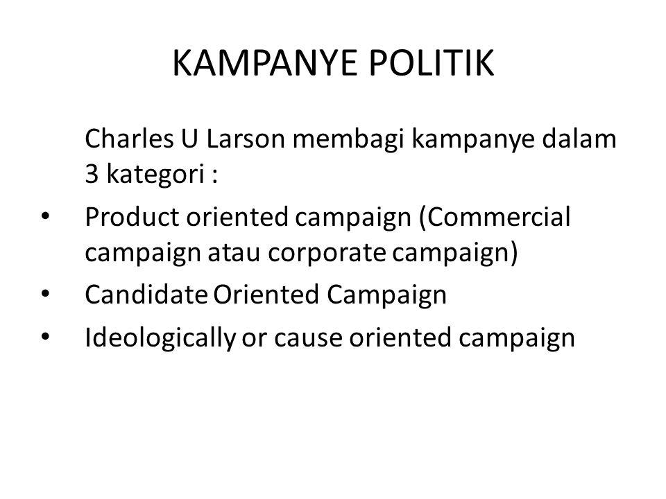 KAMPANYE POLITIK Charles U Larson membagi kampanye dalam 3 kategori : Product oriented campaign (Commercial campaign atau corporate campaign) Candidat
