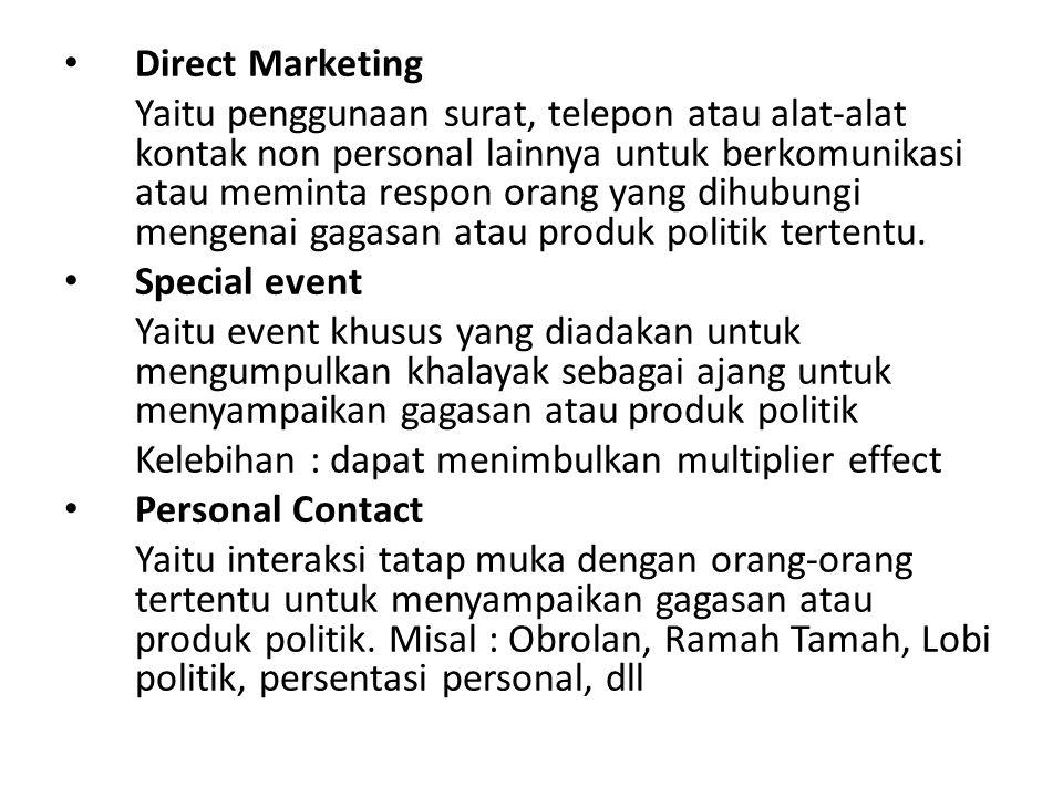 Direct Marketing Yaitu penggunaan surat, telepon atau alat-alat kontak non personal lainnya untuk berkomunikasi atau meminta respon orang yang dihubun