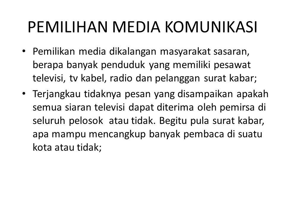 PEMILIHAN MEDIA KOMUNIKASI Pemilikan media dikalangan masyarakat sasaran, berapa banyak penduduk yang memiliki pesawat televisi, tv kabel, radio dan p