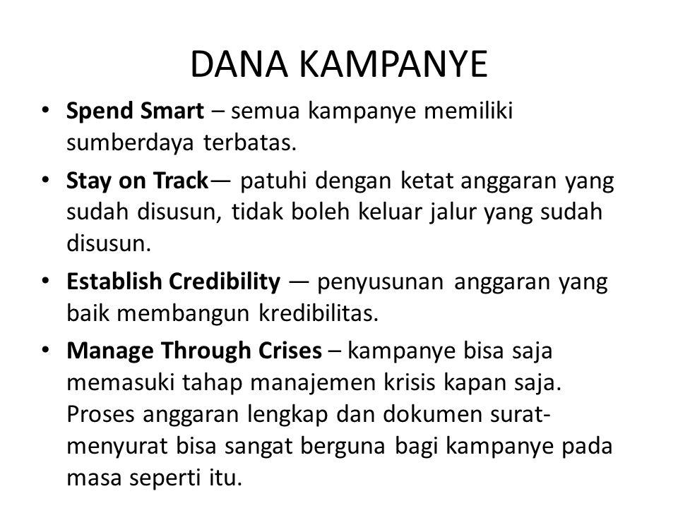 DANA KAMPANYE Spend Smart – semua kampanye memiliki sumberdaya terbatas. Stay on Track— patuhi dengan ketat anggaran yang sudah disusun, tidak boleh k