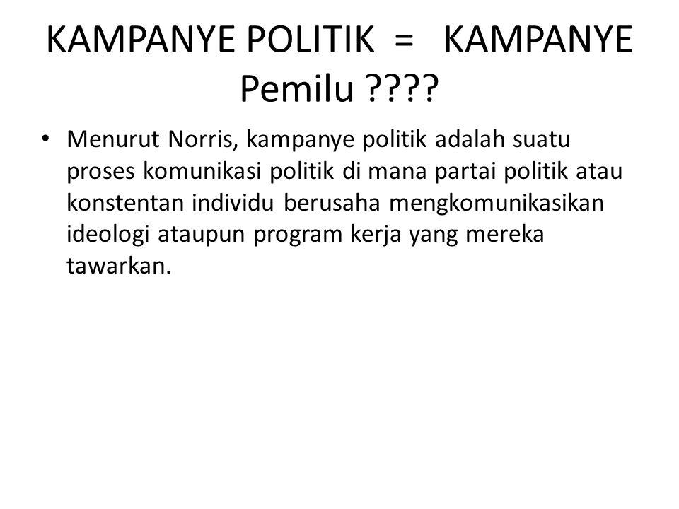 KAMPANYE POLITIK = KAMPANYE Pemilu ???? Menurut Norris, kampanye politik adalah suatu proses komunikasi politik di mana partai politik atau konstentan