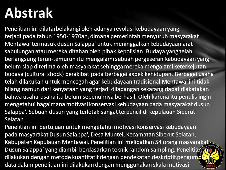 Abstrak Penelitian ini dilatarbelakangi oleh adanya revolusi kebudayaan yang terjadi pada tahun 1950-1970an, dimana pemerintah menyuruh masyarakat Mentawai termasuk dusun Salappa' untuk meninggalkan kebudayaan arat sabulungan atau mereka ditahan oleh pihak kepolisian.