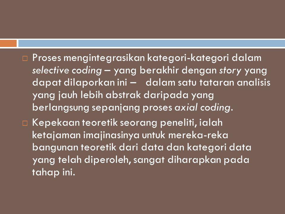  Proses mengintegrasikan kategori-kategori dalam selective coding – yang berakhir dengan story yang dapat dilaporkan ini – dalam satu tataran analisi