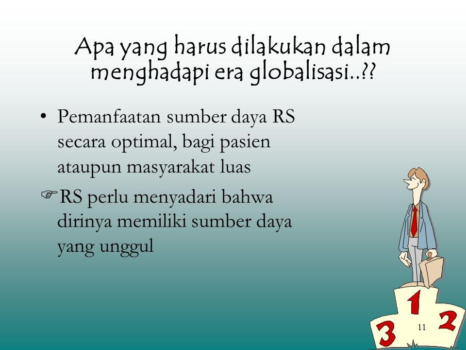 11 Apa yang harus dilakukan dalam menghadapi era globalisasi..?? Pemanfaatan sumber daya RS secara optimal, bagi pasien ataupun masyarakat luas  RS p
