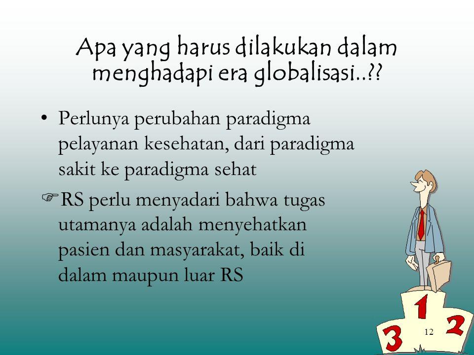 12 Apa yang harus dilakukan dalam menghadapi era globalisasi..?? Perlunya perubahan paradigma pelayanan kesehatan, dari paradigma sakit ke paradigma s