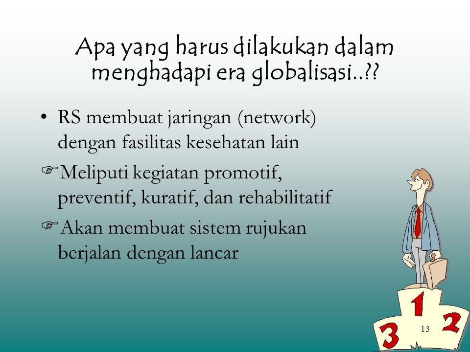 13 Apa yang harus dilakukan dalam menghadapi era globalisasi..?? RS membuat jaringan (network) dengan fasilitas kesehatan lain  Meliputi kegiatan pro
