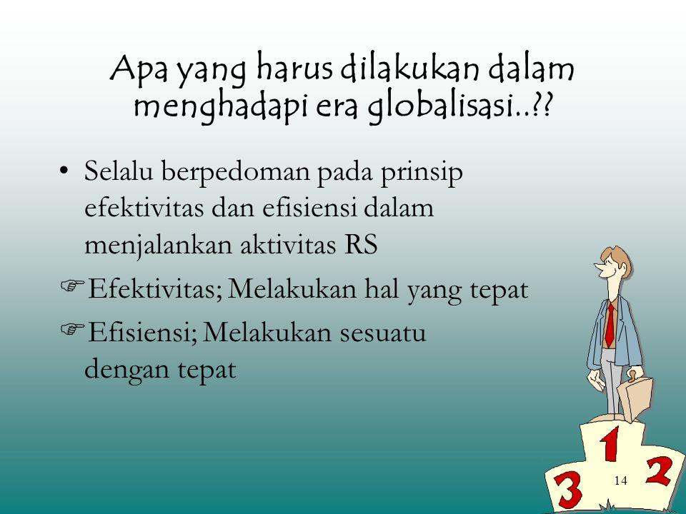 14 Apa yang harus dilakukan dalam menghadapi era globalisasi..?? Selalu berpedoman pada prinsip efektivitas dan efisiensi dalam menjalankan aktivitas
