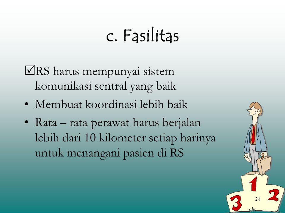 24 c. Fasilitas  RS harus mempunyai sistem komunikasi sentral yang baik Membuat koordinasi lebih baik Rata – rata perawat harus berjalan lebih dari 1
