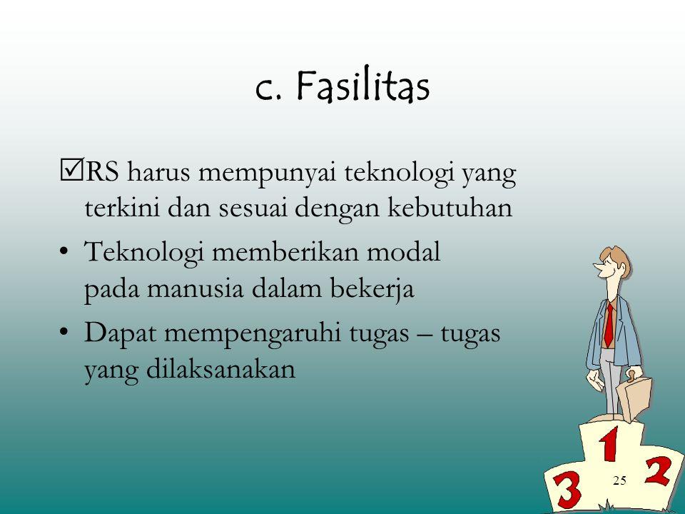 25 c. Fasilitas  RS harus mempunyai teknologi yang terkini dan sesuai dengan kebutuhan Teknologi memberikan modal pada manusia dalam bekerja Dapat me