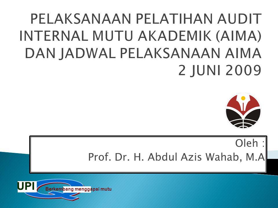 PELAKSANAAN PELATIHAN AUDIT INTERNAL MUTU AKADEMIK (AIMA) DAN JADWAL PELAKSANAAN AIMA 2 JUNI 2009 Oleh : Prof. Dr. H. Abdul Azis Wahab, M.A Berkembang