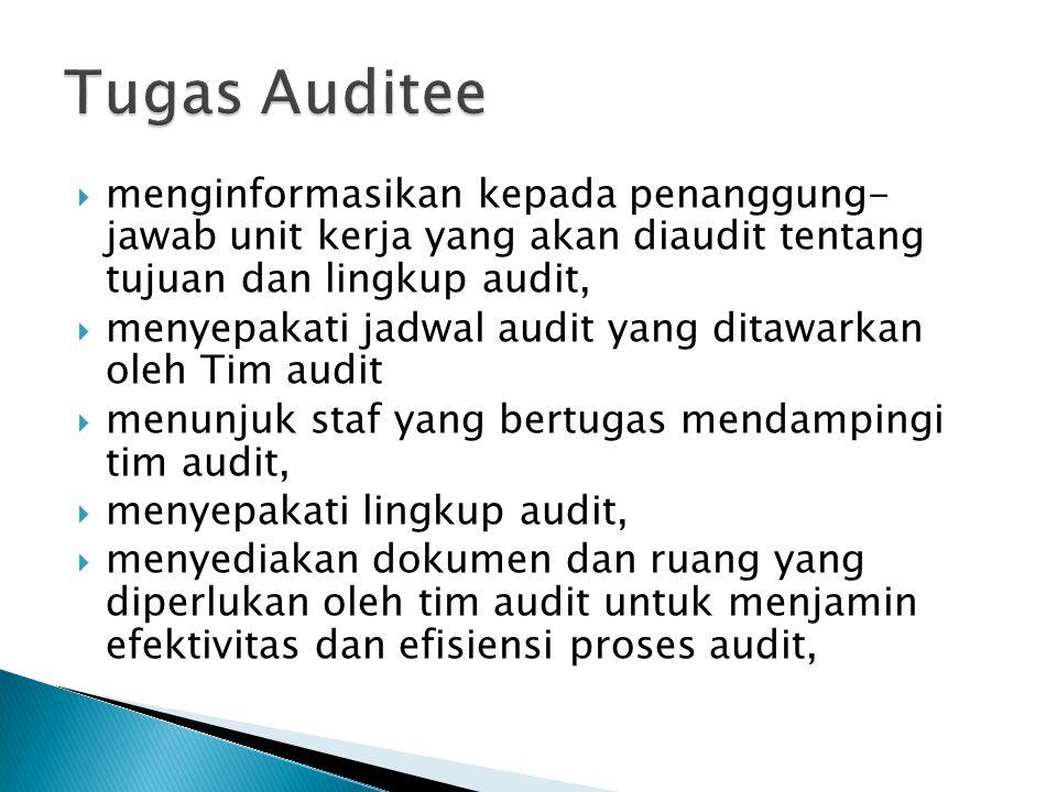  menginformasikan kepada penanggung- jawab unit kerja yang akan diaudit tentang tujuan dan lingkup audit,  menyepakati jadwal audit yang ditawarkan