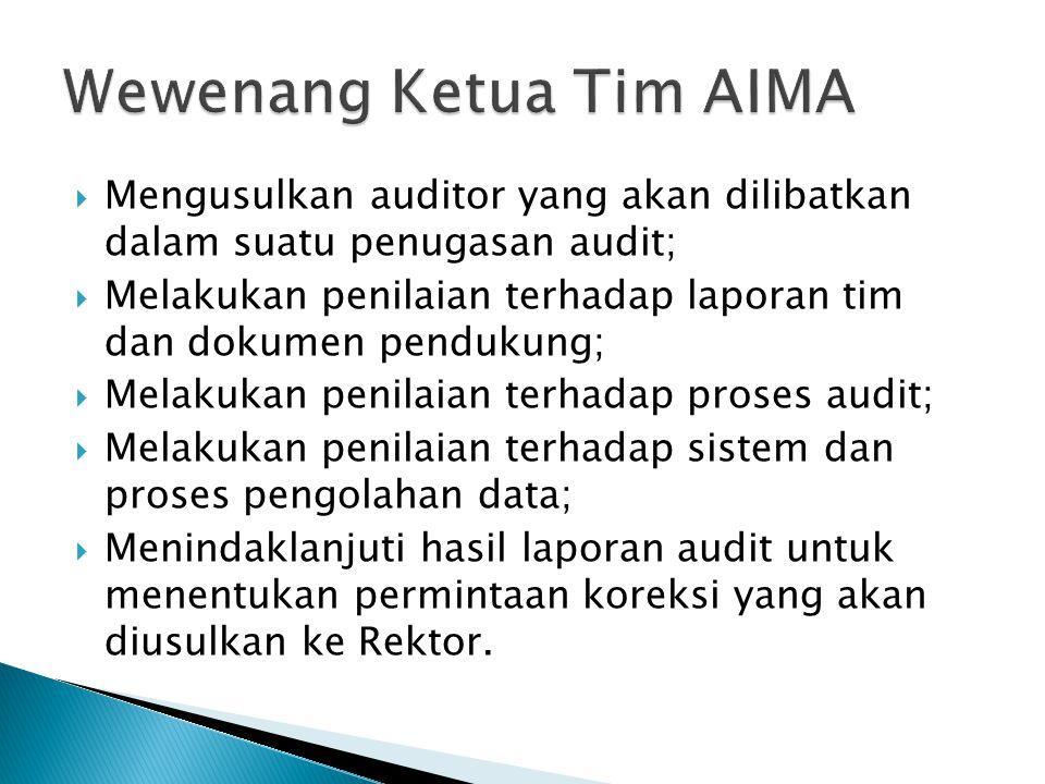  Mengusulkan auditor yang akan dilibatkan dalam suatu penugasan audit;  Melakukan penilaian terhadap laporan tim dan dokumen pendukung;  Melakukan