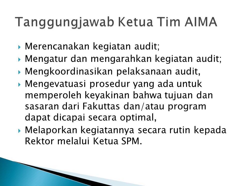  Merencanakan kegiatan audit;  Mengatur dan mengarahkan kegiatan audit;  Mengkoordinasikan pelaksanaan audit,  Mengevatuasi prosedur yang ada untu