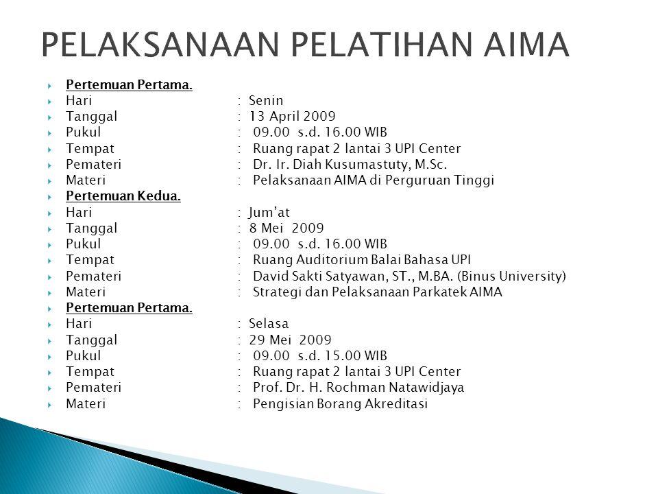  Pertemuan Pertama.  Hari: Senin  Tanggal: 13 April 2009  Pukul: 09.00 s.d. 16.00 WIB  Tempat: Ruang rapat 2 lantai 3 UPI Center  Pemateri: Dr.