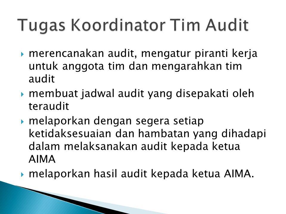  merencanakan audit, mengatur piranti kerja untuk anggota tim dan mengarahkan tim audit  membuat jadwal audit yang disepakati oleh teraudit  melapo