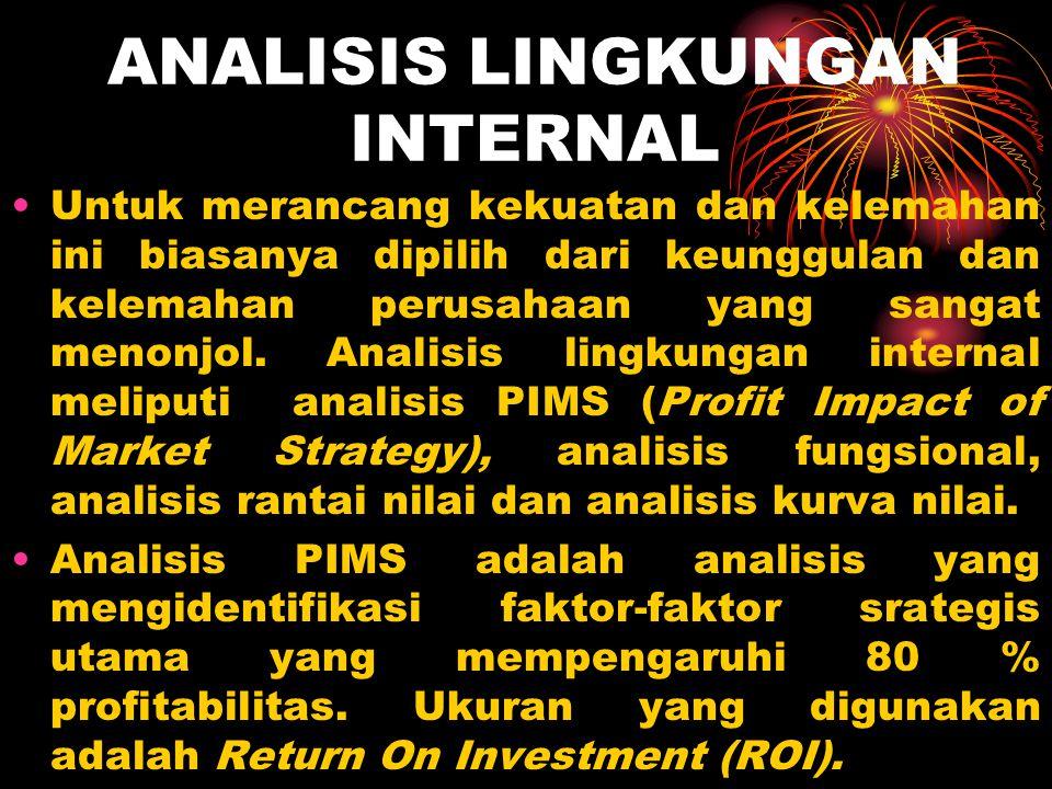 ANALISIS LINGKUNGAN INTERNAL Untuk merancang kekuatan dan kelemahan ini biasanya dipilih dari keunggulan dan kelemahan perusahaan yang sangat menonjol