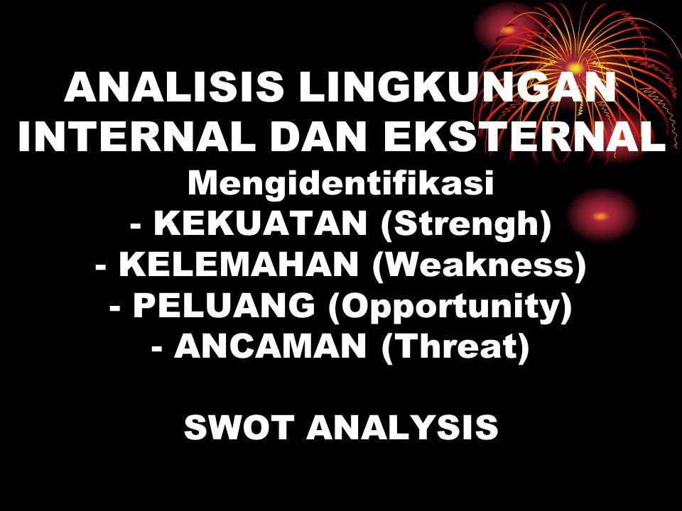 ANALISIS LINGKUNGAN INTERNAL DAN EKSTERNAL Mengidentifikasi - KEKUATAN (Strengh) - KELEMAHAN (Weakness) - PELUANG (Opportunity) - ANCAMAN (Threat) SWO