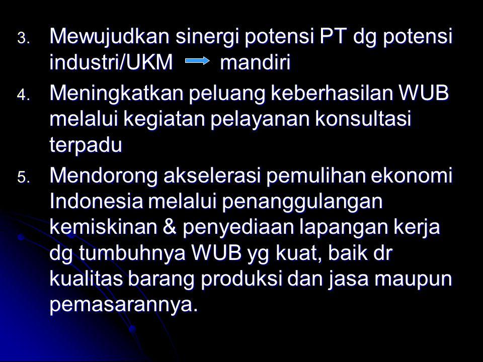 3.Mewujudkan sinergi potensi PT dg potensi industri/UKM mandiri 4.