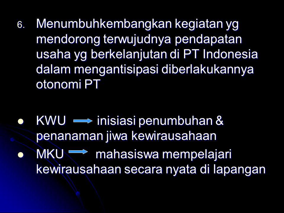 6. Menumbuhkembangkan kegiatan yg mendorong terwujudnya pendapatan usaha yg berkelanjutan di PT Indonesia dalam mengantisipasi diberlakukannya otonomi
