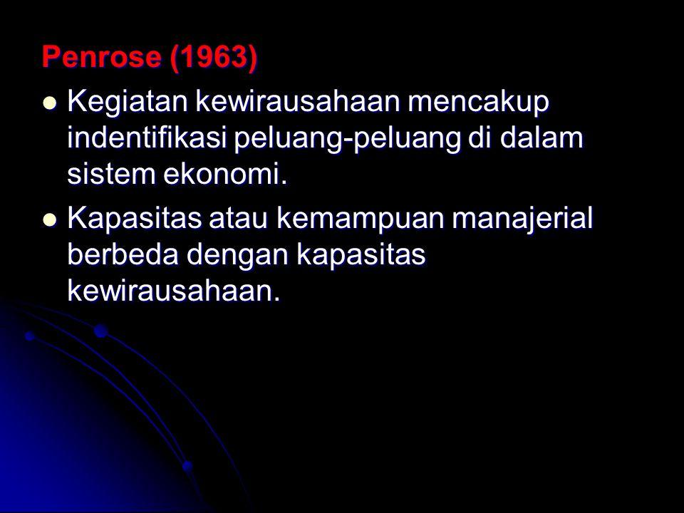 Penrose (1963) Kegiatan kewirausahaan mencakup indentifikasi peluang-peluang di dalam sistem ekonomi.