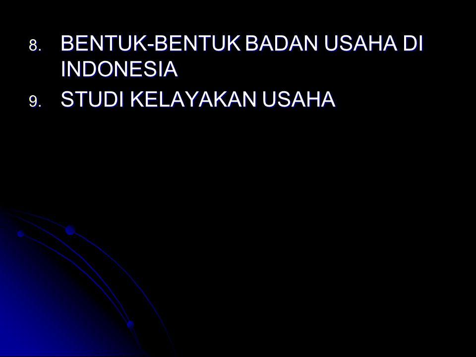8. BENTUK-BENTUK BADAN USAHA DI INDONESIA 9. STUDI KELAYAKAN USAHA
