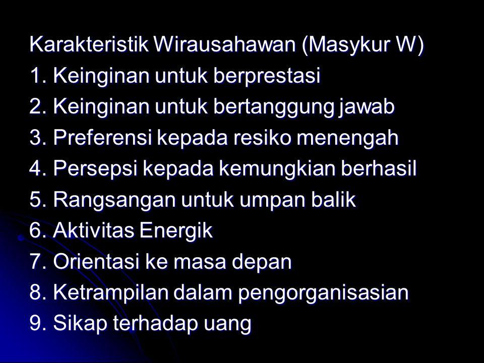 Karakteristik Wirausahawan (Masykur W) 1.Keinginan untuk berprestasi 2.