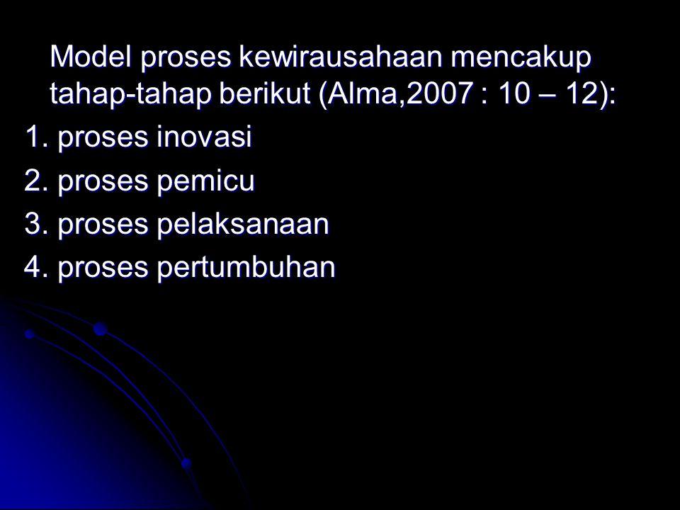 Model proses kewirausahaan mencakup tahap-tahap berikut (Alma,2007 : 10 – 12): 1.