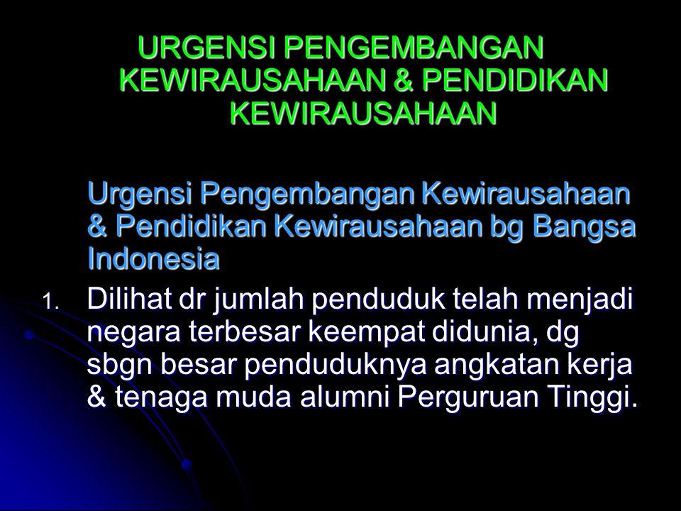 URGENSI PENGEMBANGAN KEWIRAUSAHAAN & PENDIDIKAN KEWIRAUSAHAAN Urgensi Pengembangan Kewirausahaan & Pendidikan Kewirausahaan bg Bangsa Indonesia 1.