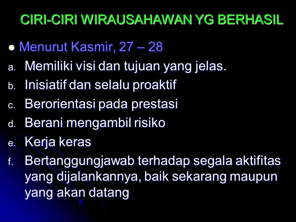 CIRI-CIRI WIRAUSAHAWAN YG BERHASIL Menurut Kasmir, 27 – 28 Menurut Kasmir, 27 – 28 a.