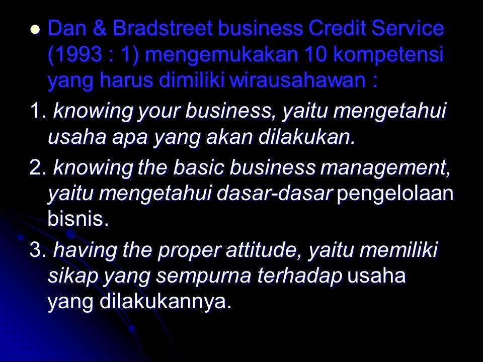 Dan & Bradstreet business Credit Service (1993 : 1) mengemukakan 10 kompetensi yang harus dimiliki wirausahawan : Dan & Bradstreet business Credit Service (1993 : 1) mengemukakan 10 kompetensi yang harus dimiliki wirausahawan : 1.