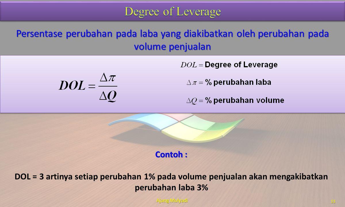 Persentase perubahan pada laba yang diakibatkan oleh perubahan pada volume penjualan Ajang Mulyadi 11 Contoh : DOL = 3 artinya setiap perubahan 1% pad