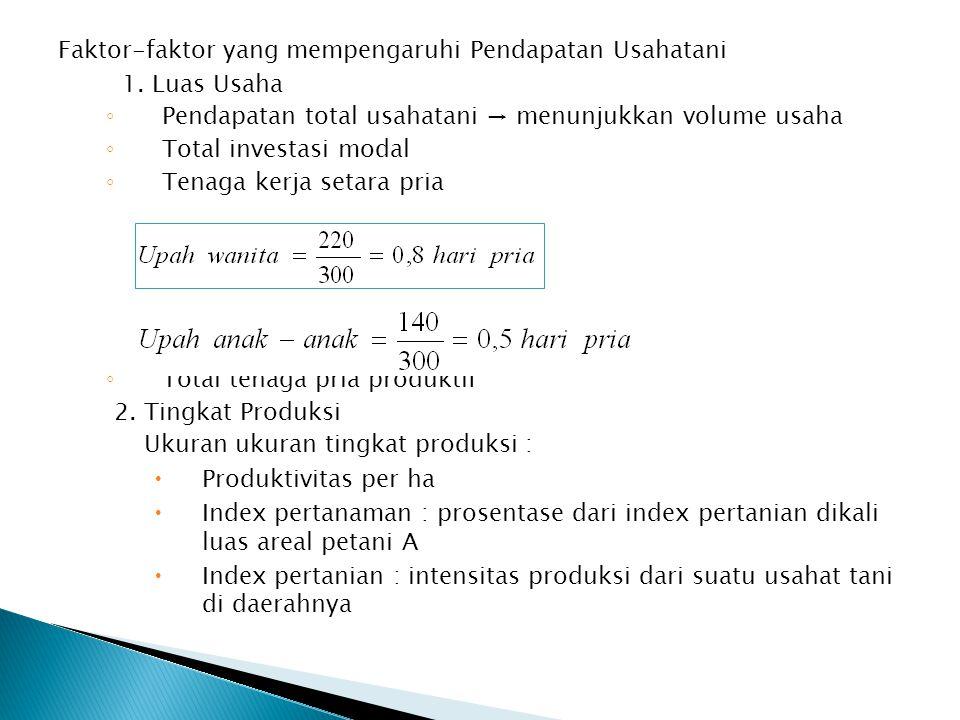 Faktor-faktor yang mempengaruhi Pendapatan Usahatani 1. Luas Usaha ◦ Pendapatan total usahatani → menunjukkan volume usaha ◦ Total investasi modal ◦ T
