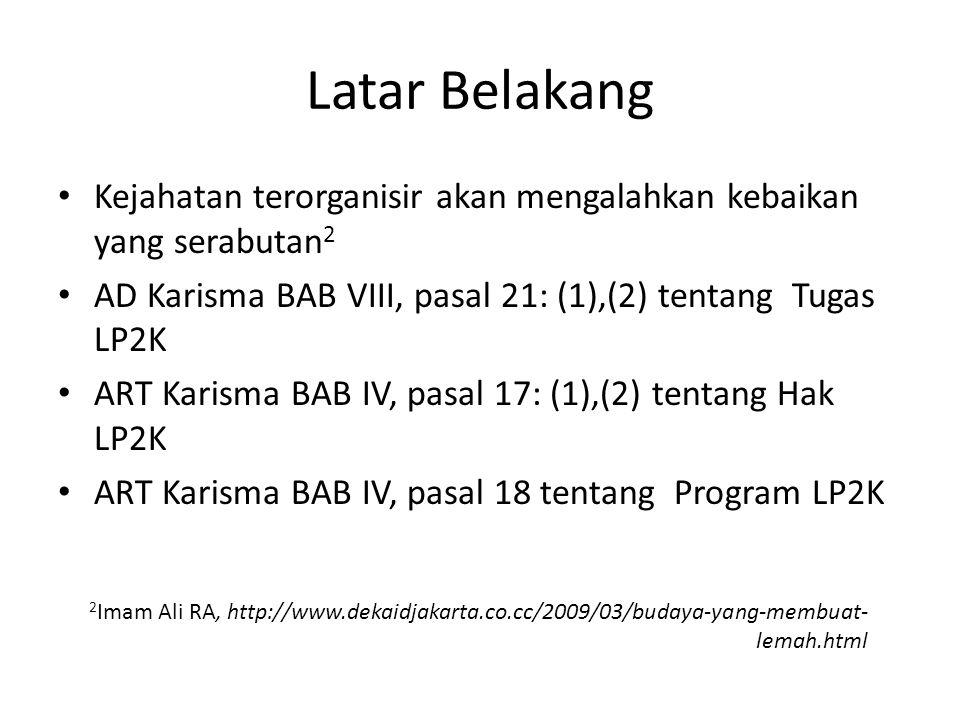 Latar Belakang Kejahatan terorganisir akan mengalahkan kebaikan yang serabutan 2 AD Karisma BAB VIII, pasal 21: (1),(2) tentang Tugas LP2K ART Karisma BAB IV, pasal 17: (1),(2) tentang Hak LP2K ART Karisma BAB IV, pasal 18 tentang Program LP2K 2 Imam Ali RA, http://www.dekaidjakarta.co.cc/2009/03/budaya-yang-membuat- lemah.html