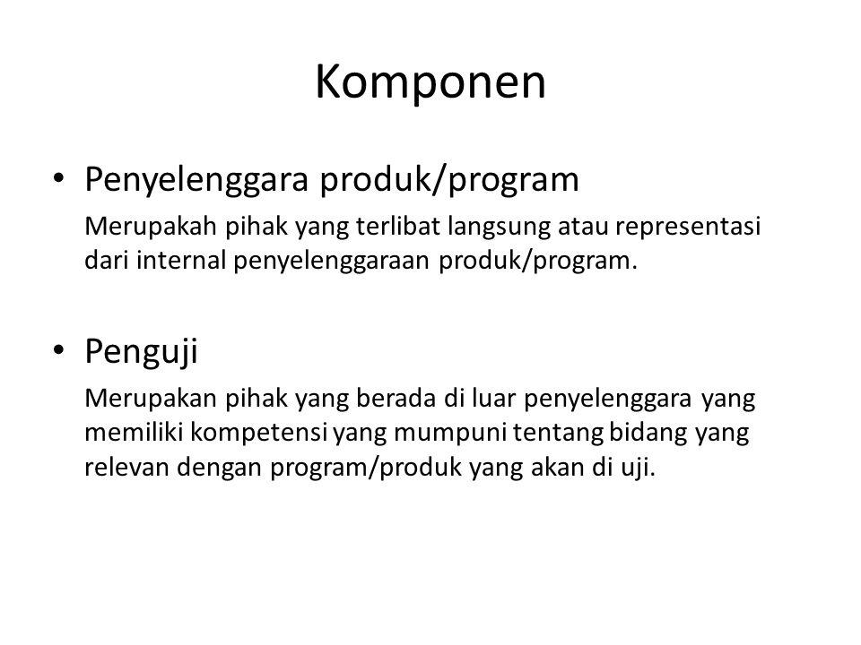 Komponen Penyelenggara produk/program Merupakah pihak yang terlibat langsung atau representasi dari internal penyelenggaraan produk/program.