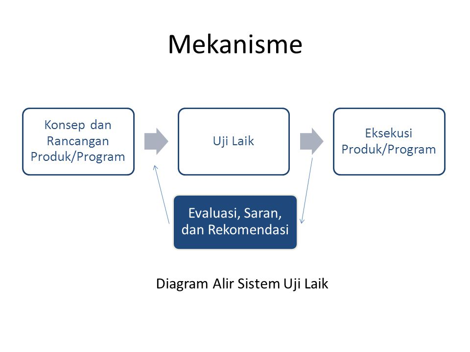Mekanisme Konsep dan Rancangan Produk/Program Uji Laik Eksekusi Produk/Program Evaluasi, Saran, dan Rekomendasi Diagram Alir Sistem Uji Laik