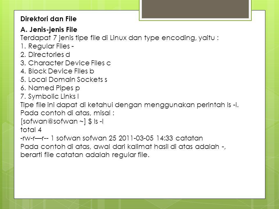 Direktori dan File A. Jenis-jenis File Terdapat 7 jenis tipe file di Linux dan type encoding, yaitu : 1. Regular Files - 2. Directories d 3. Character