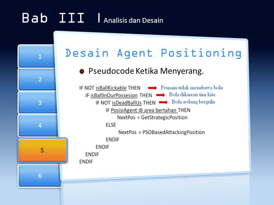 6 6 2 2 3 3 4 4 1 1 Bab III | Analisis dan Desain Desain Agent Positioning Pseudocode Ketika Menyerang. 5 5