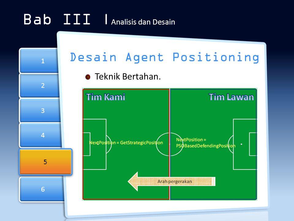 6 6 2 2 3 3 4 4 1 1 Bab III | Analisis dan Desain Desain Agent Positioning Teknik Bertahan. 5 5