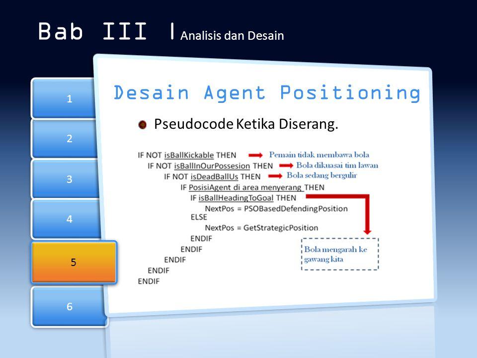 6 6 2 2 3 3 4 4 1 1 Bab III | Analisis dan Desain Desain Agent Positioning Pseudocode Ketika Diserang. 5 5