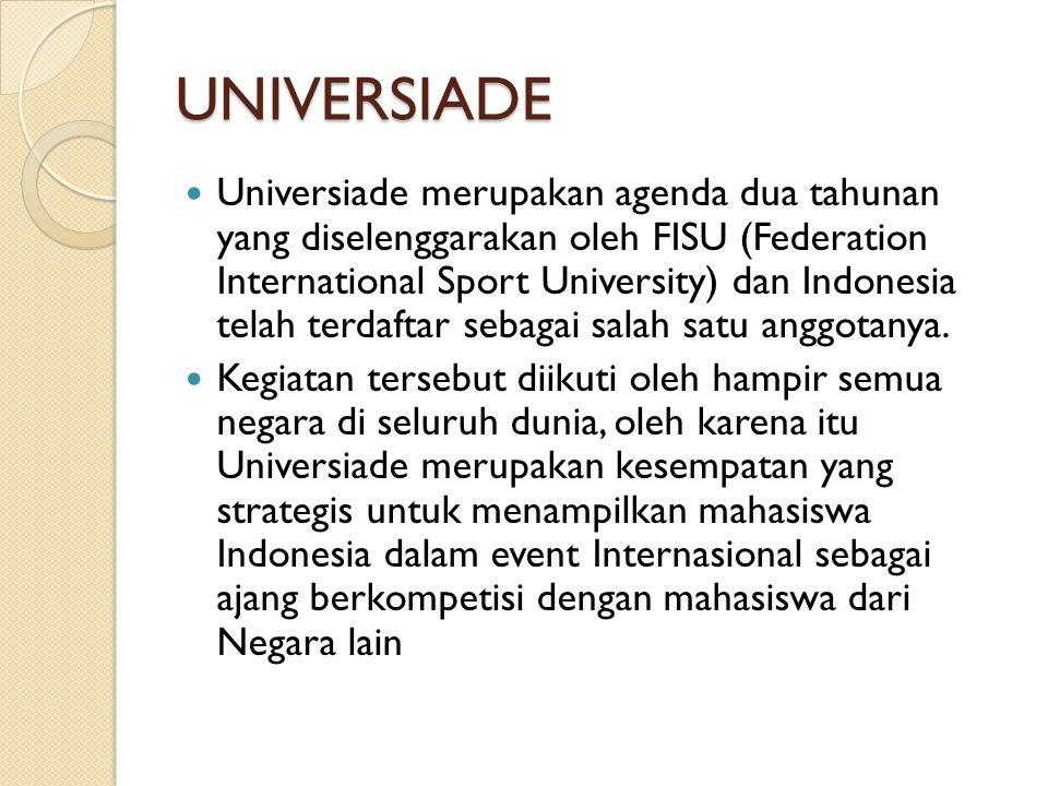 UNIVERSIADE Tujuan pengiriman kontingen Indonesia ke Universiade ini adalah untuk meningkatkan kemampuan berkompetisi mahasiswa Indonesia dalam kegiatan internasional untuk meraih prestasi yang terbaik di bidang olahraga dan untuk menjalin serta mempererat persahabatan antar mahasiswa Indonesia dengan mahasiswa dari negara lain.